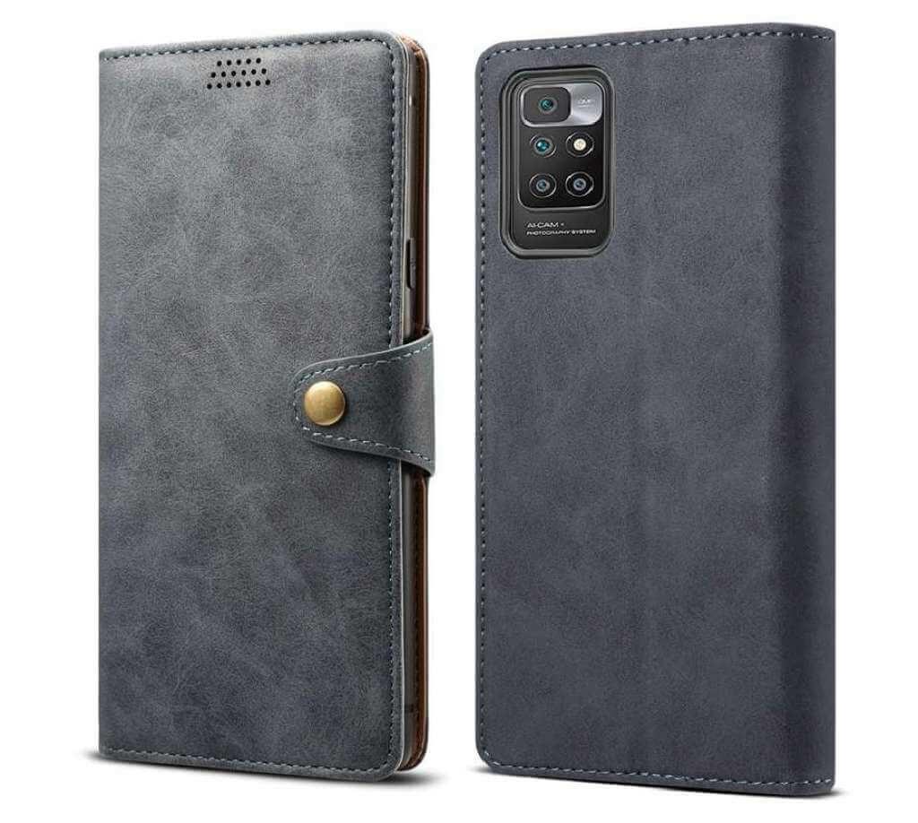 Lenuo Leather flipové pouzdro pro Xiaomi Redmi 10, šedá