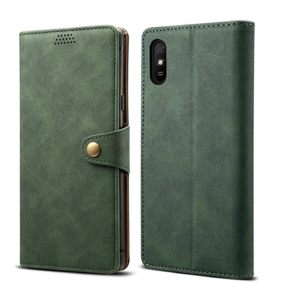 Pouzdro flipové Lenuo Leather pro Xiaomi Redmi 9A, zelená