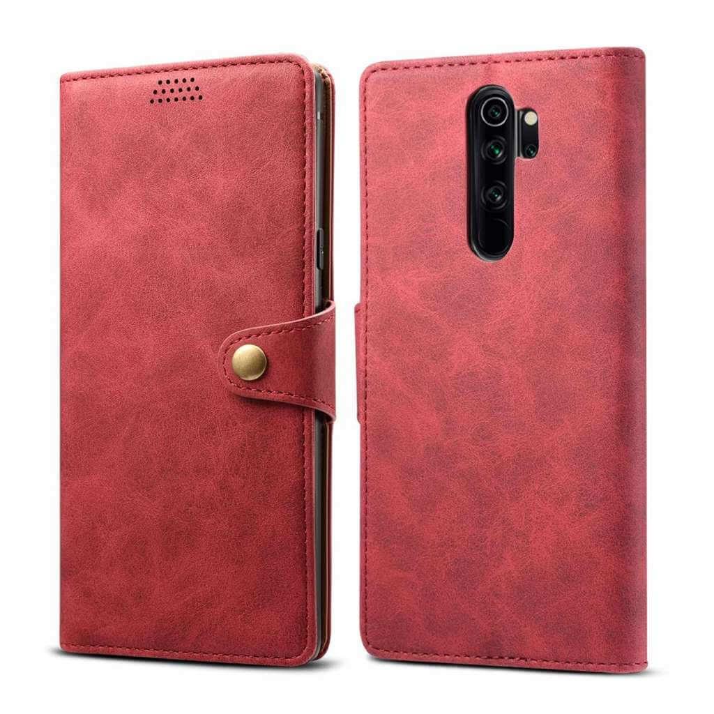 Pouzdro flipové Lenuo Leather pro Xiaomi Redmi Note 8 Pro, červená