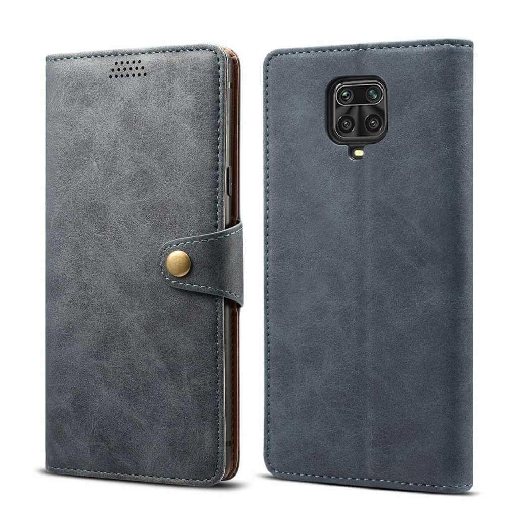 Pouzdro flipové Lenuo Leather pro Xiaomi Redmi Note 9 Pro/ Note 9S, šedá
