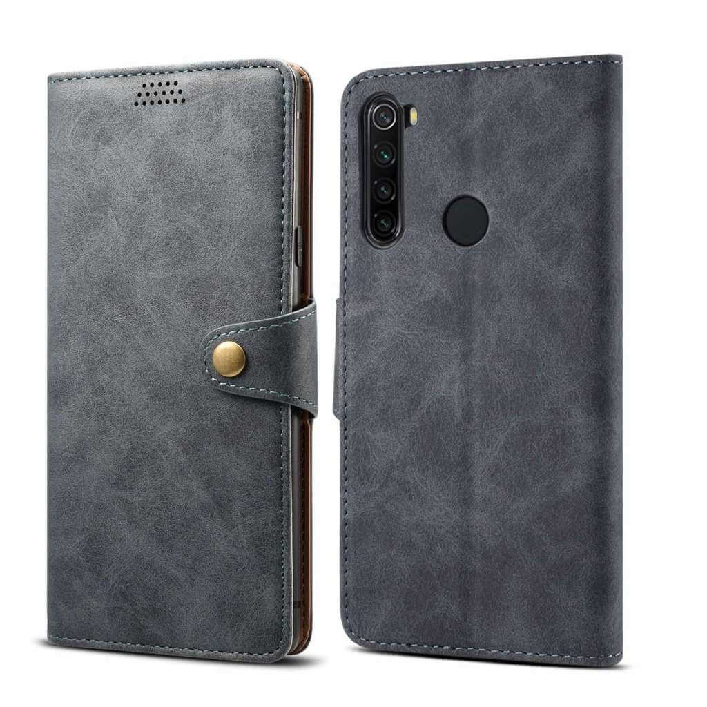 Pouzdro flipové Lenuo Leatherna Xiaomi Redmi Note 8T, šedá