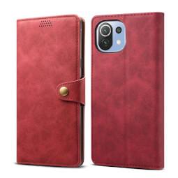 Lenuo Leather flipové pouzdro pro Xiaomi Mi 11 Lite, červená