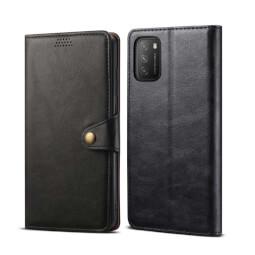 Lenuo Leather flipové pouzdro pro Xiaomi Poco M3, černá