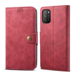 Lenuo Leather flipové pouzdro pro Xiaomi Poco M3, červená