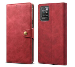 Lenuo Leather flipové pouzdro pro Xiaomi Redmi 10, červená