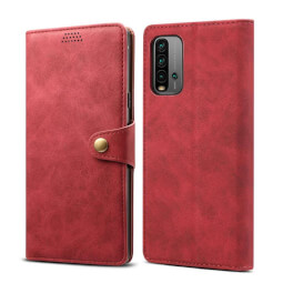 Lenuo Leather flipové pouzdro pro Xiaomi Redmi 9T, červená