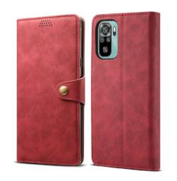Lenuo Leather flipové pouzdro pro Xiaomi Redmi Note 10, červená