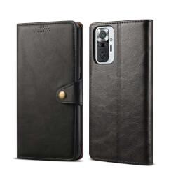 Lenuo Leather flipové pouzdro pro Xiaomi Redmi Note 10 Pro, černá