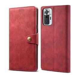 Lenuo Leather flipové pouzdro pro Xiaomi Redmi Note 10 Pro, červená