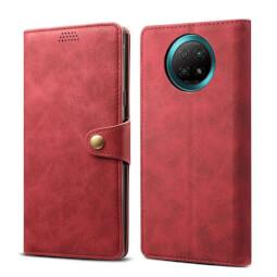 Lenuo Leather flipové pouzdro pro Xiaomi Redmi Note 9T, červená