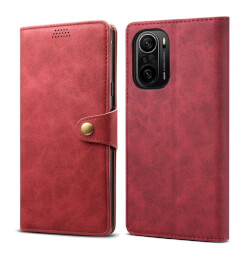 Pouzdro flipové Lenuo Leather pro Poco F3, červená