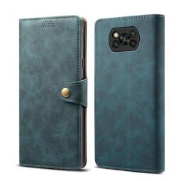 Pouzdro flipové Lenuo Leather pro Poco X3, modrá