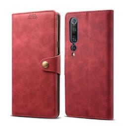 Pouzdro flipové Lenuo Leather  pro Xiaomi Mi 10, červená