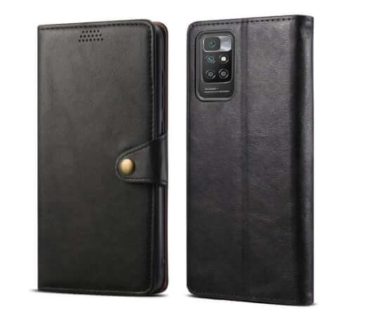 Lenuo Leather flipové pouzdro pro Xiaomi Redmi 10, černá