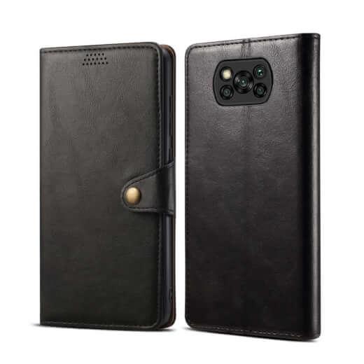 Pouzdro flipové Lenuo Leather pro Poco X3, černá