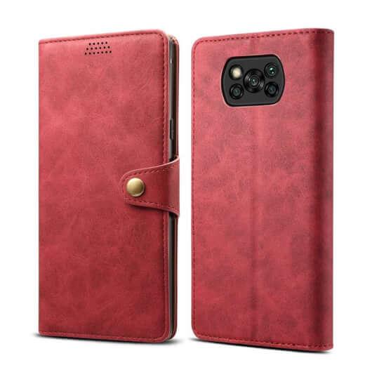 Pouzdro flipové Lenuo Leather pro Poco X3, červená