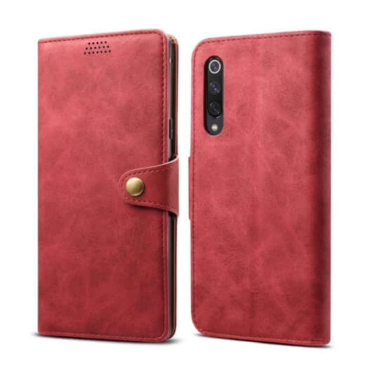 Pouzdro flipové Lenuo Leather pro Xiaomi Mi 9 SE, červená