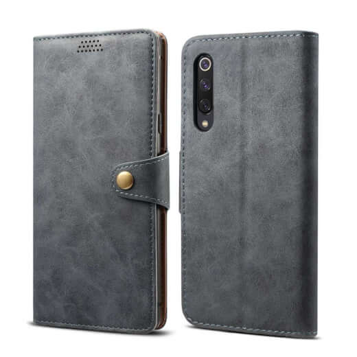 Pouzdro flipové Lenuo Leather pro Xiaomi Mi 9 SE, šedá
