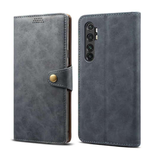 Pouzdro flipové Lenuo Leather pro Xiaomi Mi Note 10 Lite, šedá