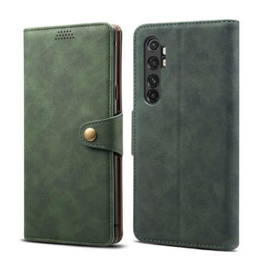 Pouzdro flipové Lenuo Leather pro Xiaomi Mi Note 10 Lite, zelená