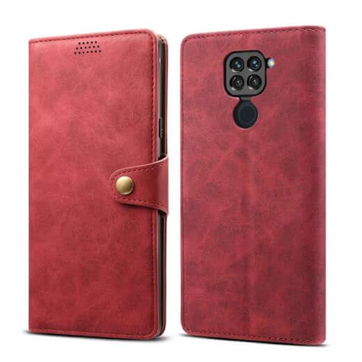 Pouzdro flipové Lenuo Leather pro Xiaomi Redmi Note 9, červená