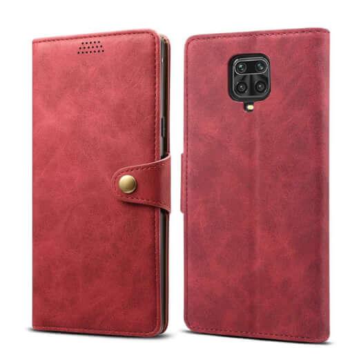Pouzdro flipové Lenuo Leather pro Xiaomi Redmi Note 9 Pro/ Note 9S, červená