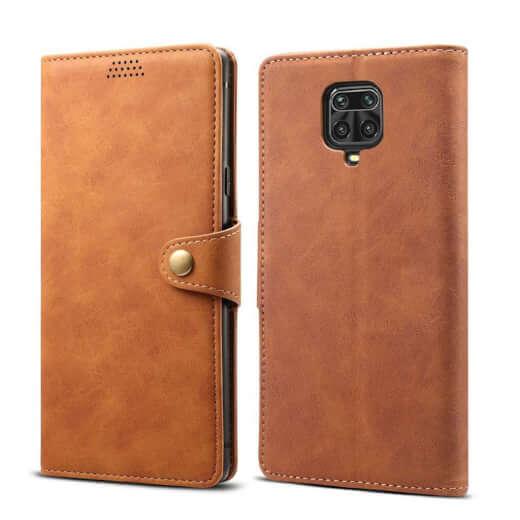 Pouzdro flipové Lenuo Leather pro Xiaomi Redmi Note 9 Pro/ Note 9S, hnědá