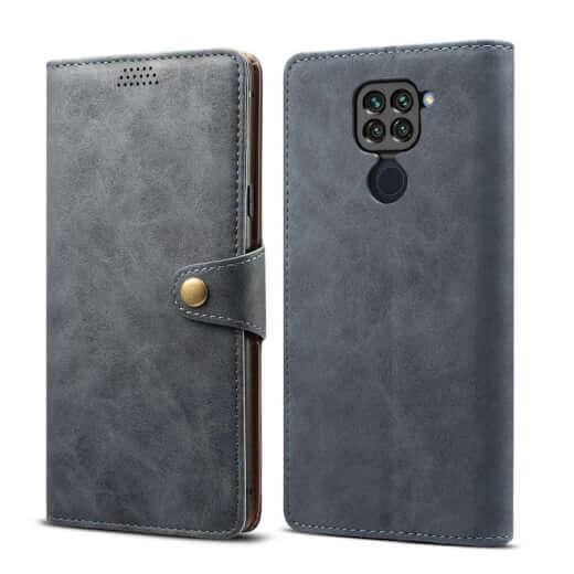 Pouzdro flipové Lenuo Leather pro Xiaomi Redmi Note 9, šedá