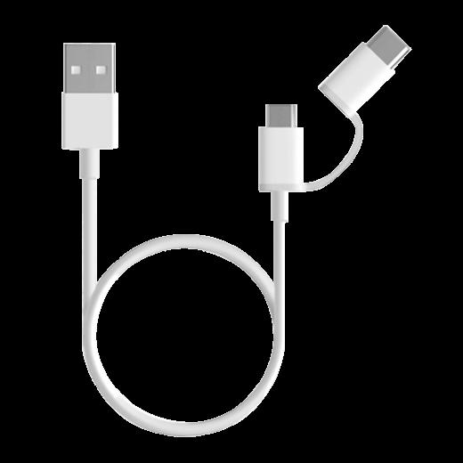 USB kabel Mi 2-in-1 (Micro USB to Type C - 30 cm), bílá